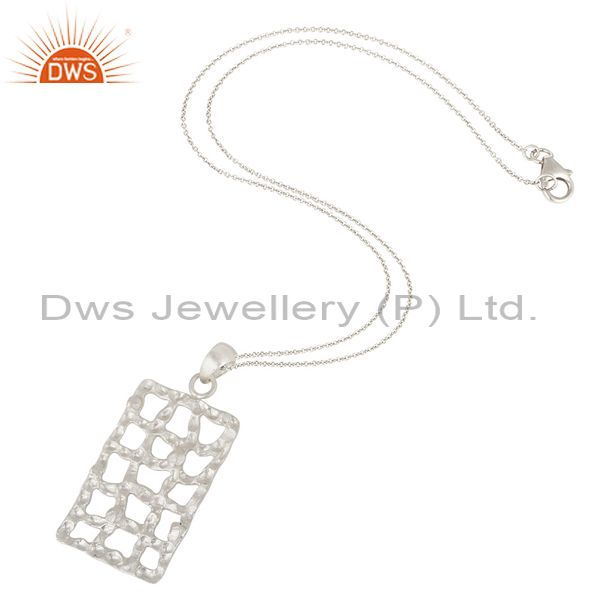 Suppliers Handmade Solid 925 Sterling Silver Hammered Design Pendant Chain Necklace