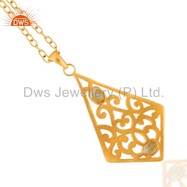 Suppliers Genuine Citrine Semi Stone Indian Handmade Filigree Chain Necklace 16