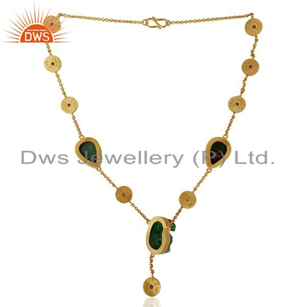 Suppliers 22K Yellow Gold Plated Sterling Silver Chrysoprase Gemstone And CZ Necklace
