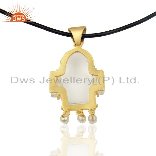 Suppliers 22K Gold Plated Sterling Silver Crystal Quartz And Pearl Pendant With Black Cord