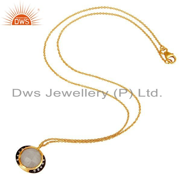 Suppliers 18K Gold Plated Sterling Silver Rainbow Moonstone & White Zirconia Chain Pendant