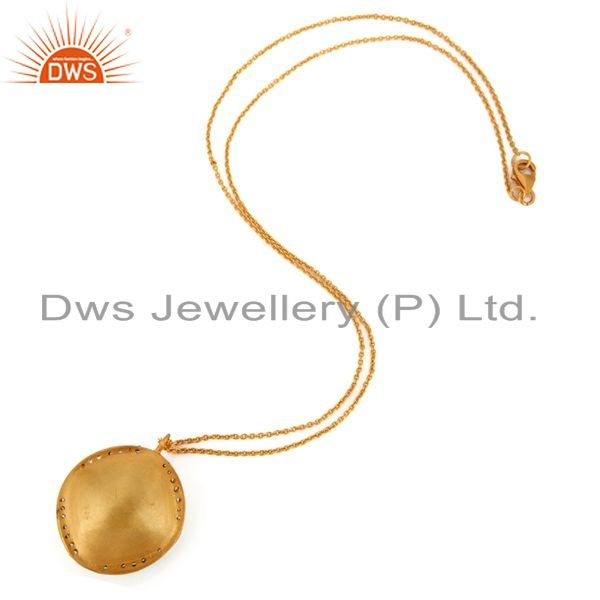 Suppliers Handmade Gold Plated Sterling Silver Yellow Moonstone Designer Pendant Jewelry