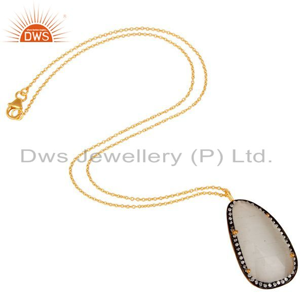 Suppliers Gold Plated Prong Set White Moonstone Sterling Silver Pendant Necklace
