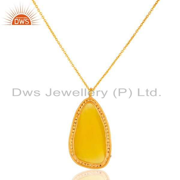 Suppliers Gold Plated Prong Set Yellow Moonstone Sterling Silver Pendant Necklace