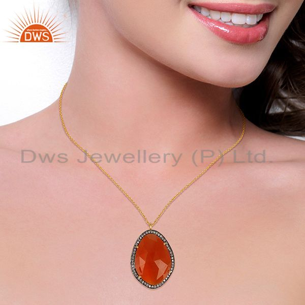 Suppliers 14K Gold Plated 925 Sterling Silver Peach Moonstone White Zircon Chain Pendant