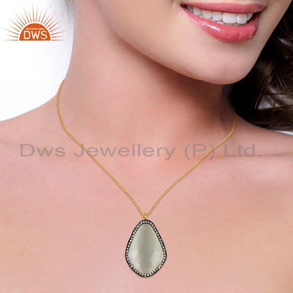 Suppliers 14K Gold Plated 925 Sterling Silver Moonstone CZ Chain Pendant Jewelry