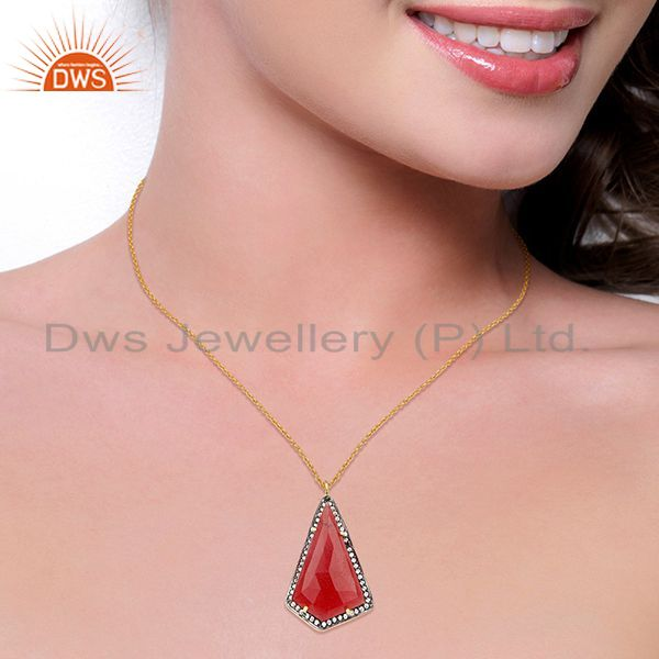 Suppliers 14K Gold Plated 925 Sterling Silver Red Aventurine CZ Chain Pendant Jewelry