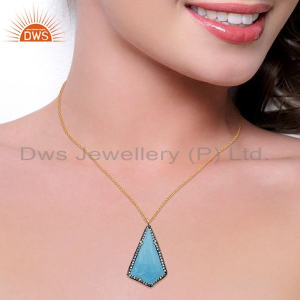Suppliers 14K Gold Plated 925 Sterling Silver Turquoise CZ Gemstone Chain Pendant Jewelry