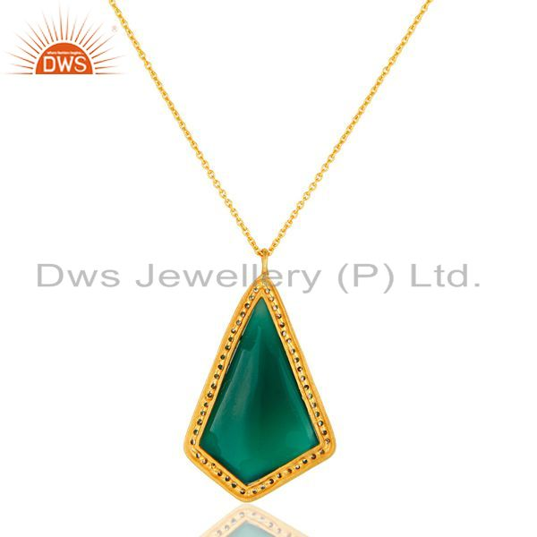 Suppliers 14K Yellow Gold Plated Sterling Silver Green Onyx And CZ Pendant With Chain