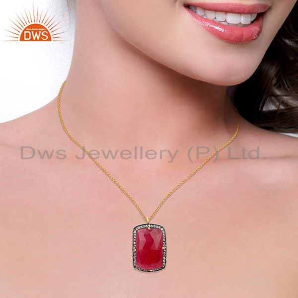 Suppliers 14K Gold Plated 925 Sterling Silver Red Aventurine CZ Gemstone Chain Pendant