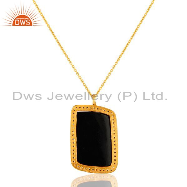 Suppliers 18K Yellow Gold Plated Sterling Silver Black Onyx And CZ Pendant With Chain