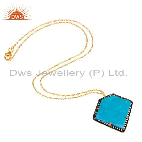 Suppliers Sterling Silver With Gold Plated Turquoise Cultured Designer Pendant Chain