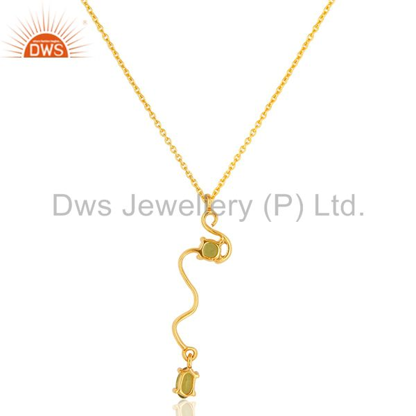 Suppliers 18K Yellow Gold Plated Sterling Silver Peridot Gemstone Pendant With Chain