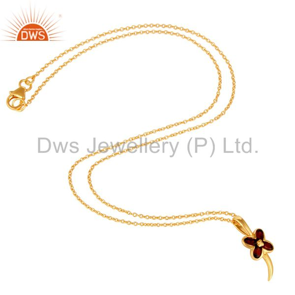 Suppliers 14K Yellow Gold Plated Sterling Silver Garnet Gemstone Flower Pendant With Chain