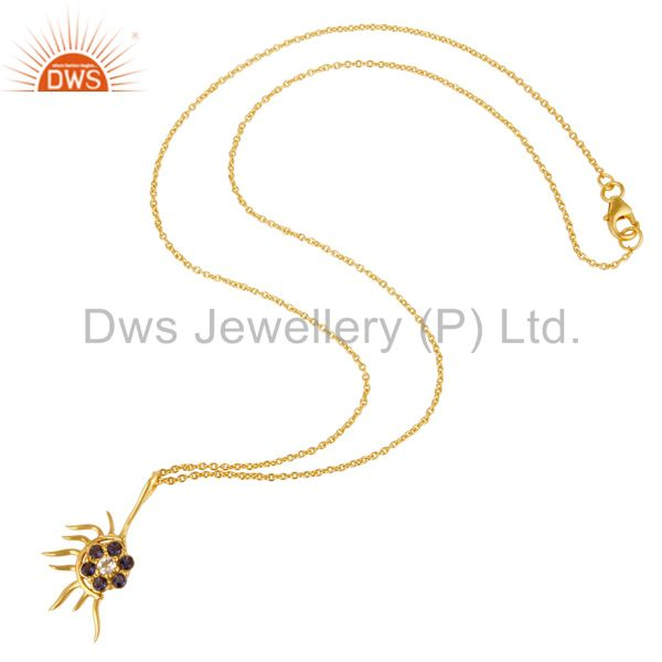 Suppliers 18K Gold Plated Sterling Silver Iolite And White Topaz Designer Pendant Necklace