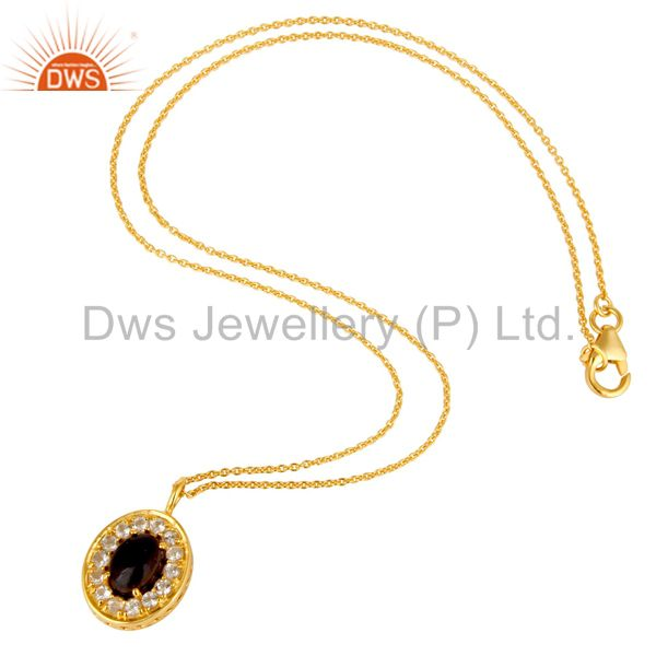 Suppliers 14K Yellow Gold Plated Sterling Silver Iolite And White Topaz Pendant With Chain