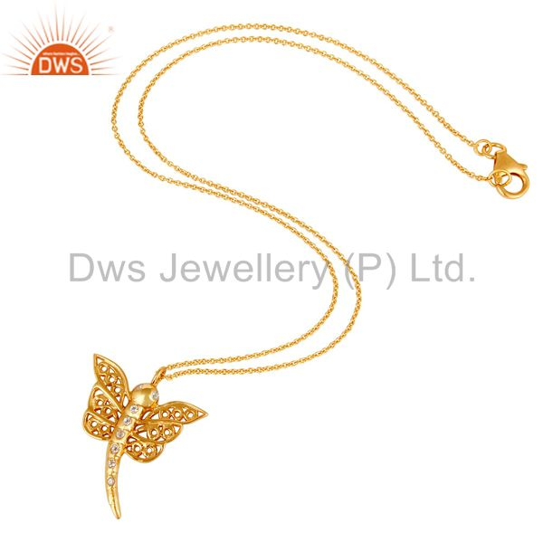 Suppliers 14K Gold Plated Sterling Silver White Topaz Butterfly Designer Pendant Necklace