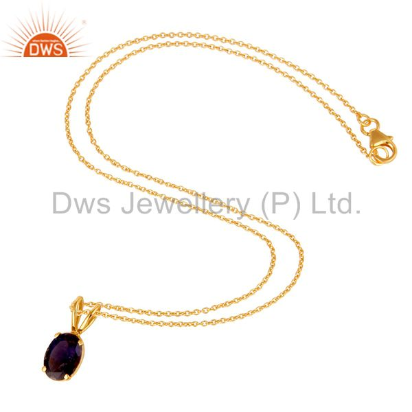 Suppliers 18K Yellow Gold Plated Sterling Silver Iolite Gemstone Pendant With Chain