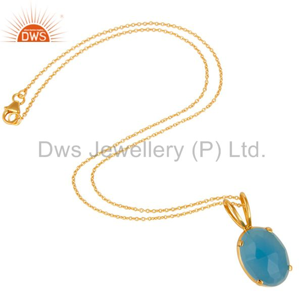 Suppliers 14K Yellow Gold Plated Sterling Silver Aqua Blue Chalcedony Pendant With Chain