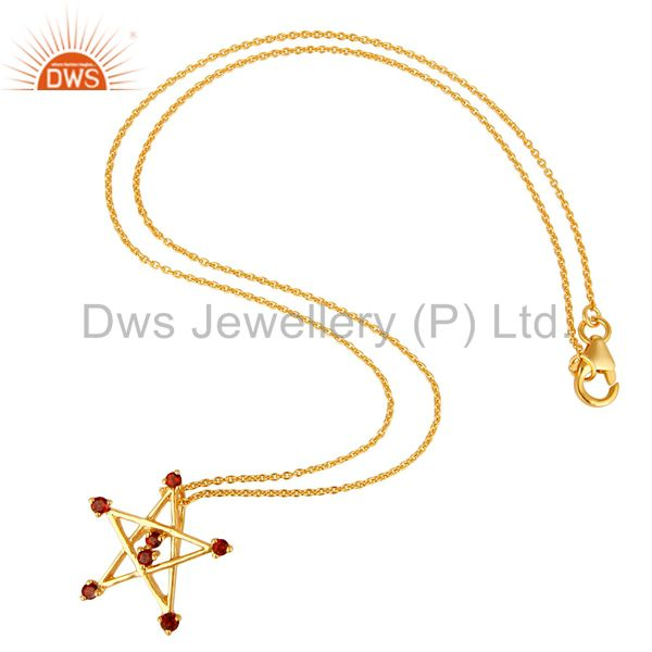 Suppliers 18K Gold Plated Sterling Silver Garnet Star Of David Pendant With Chain