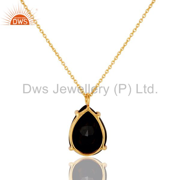 Suppliers Natural Black Onyx Prong Set Gemstone Sterling Silver Pendant With 16