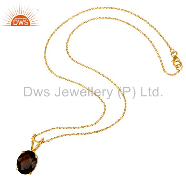 Suppliers 925 Sterling Silver Smoky Quartz Prong-Set Gemstone Pendant With Chain