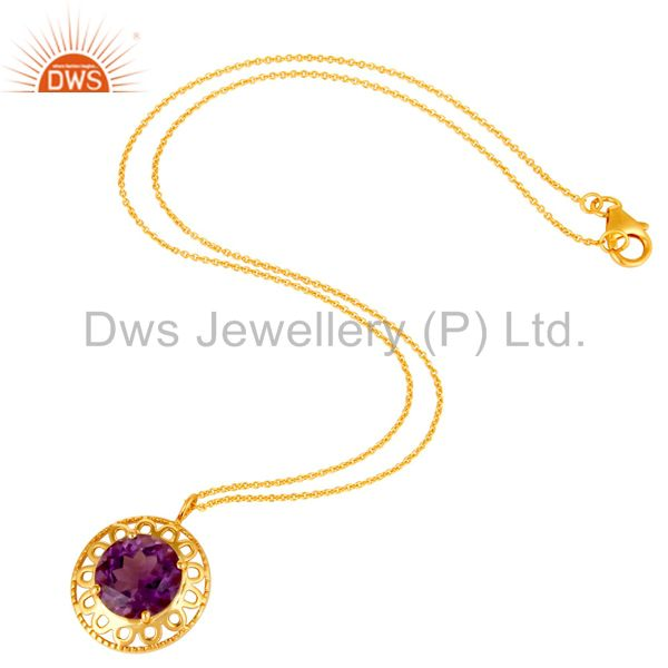 Suppliers 14K Yellow Gold Plated Sterling Silver Amethyst Designer Pendant With Chain
