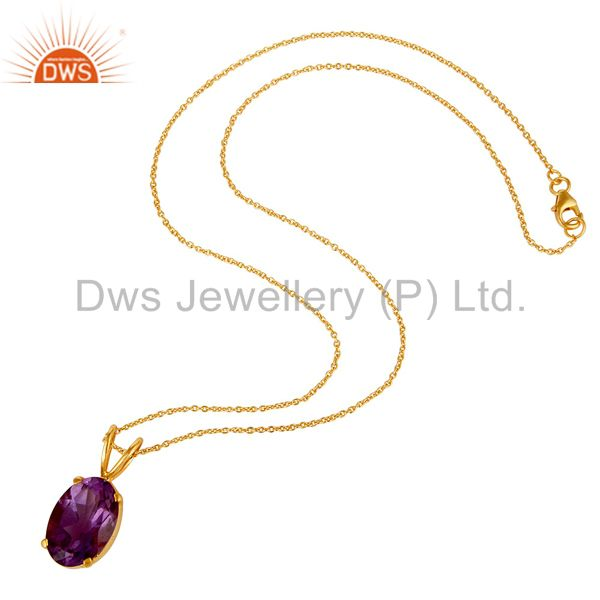 Suppliers Natural Amethyst 18K Gold Plated Sterling SIlver Prong Set Pendant Necklace