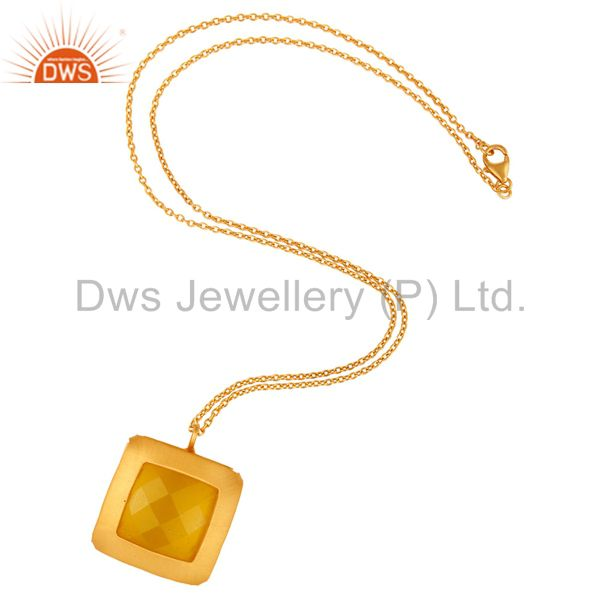 Suppliers Designer Yellow Moonstone Gold Plated 925 Sterling Silver Pendant Necklace