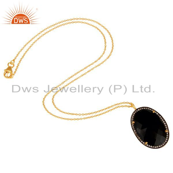 Suppliers 14K Yellow Gold Plated Sterling Silver CZ And Black Onyx Pendant With 16