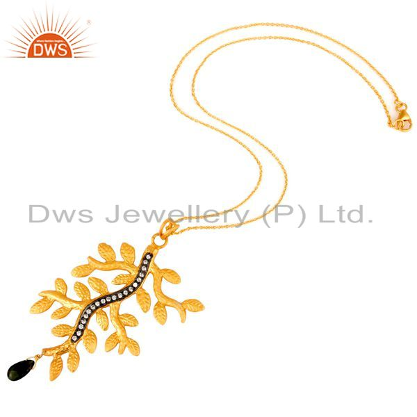 Suppliers 22K Gold Plated Sterling Silver Multi Tourmaline And CZ Leaf Pendant With Chain