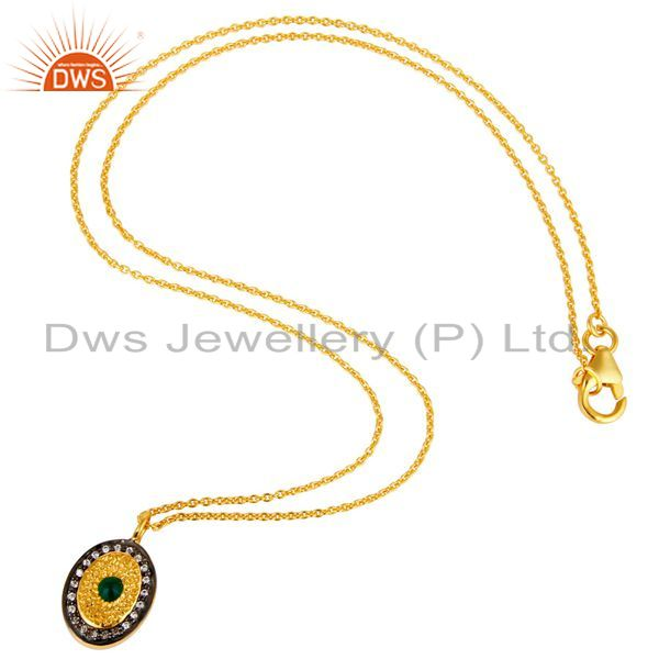 Suppliers 14K Yellow Gold Plated Sterling Silver Green Onyx & CZ Halo Pendant With Chain