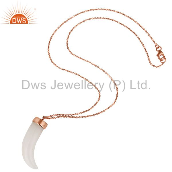 Suppliers 18K Rose Gold Plated Sterling Silver White Agate Ox Horn Pendant With Chain