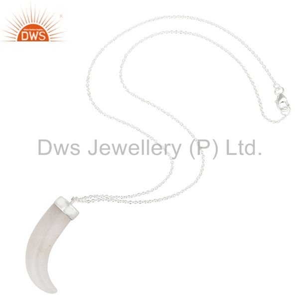 Suppliers Handmade Sterling Silver White Agate Gemstone Ox Horn Pendant With Chain