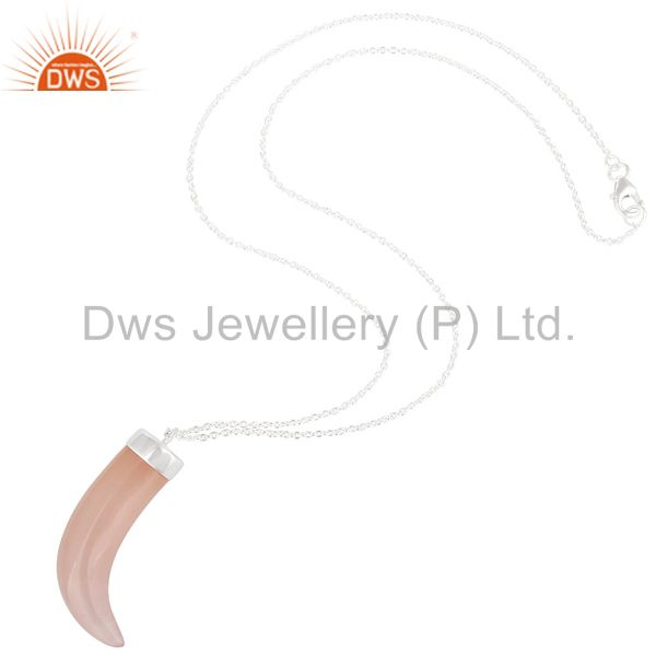 Suppliers 925 Sterling Silver Rose Chalcedony Gemstone Ox Horn Pendant Necklace