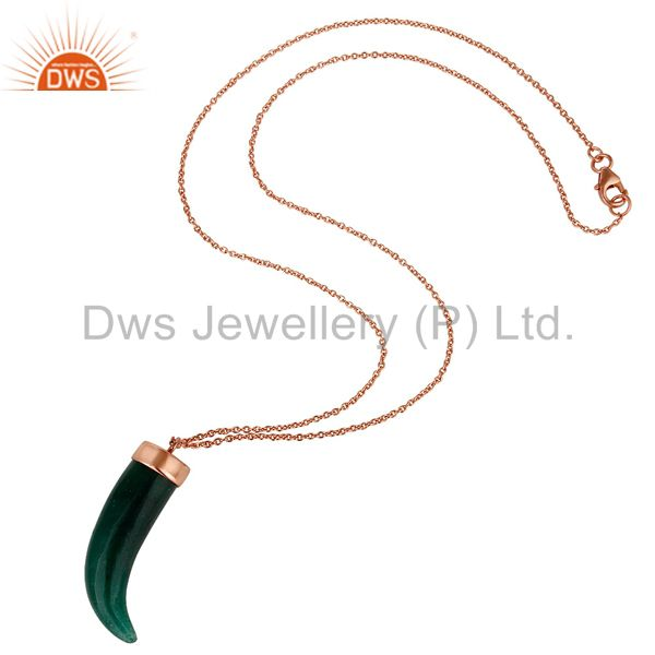 Suppliers 18K Rose Gold Plated Sterling Silver Green Aventurine Horn Pendant Necklace