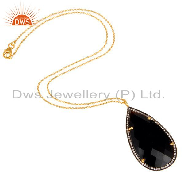 Suppliers 22K Yellow Gold Plated Sterling Silver Black Onyx And CZ Drop Pendant With Chain