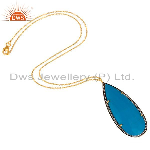 Suppliers 18K Gold Plated Sterling Silver and Turquoise Cultured Prong Set Pendant