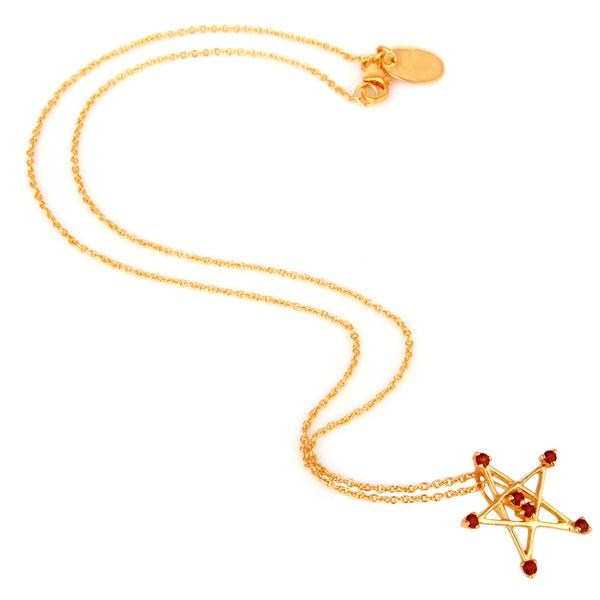 Suppliers 22k Gold Plated 925 Sterling Silver Round Cut Star Design Garnet Chain Pendant