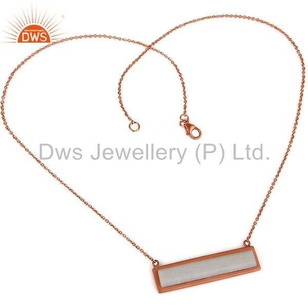 Suppliers Rose Gold Plated Flat Cut White Agate Sterling Silver Necklace
