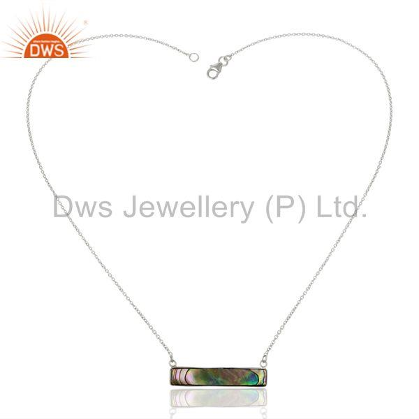 Suppliers Abalone Shell Rectangle Sterling Silver Pendant & Necklace Wholesale Jewellery