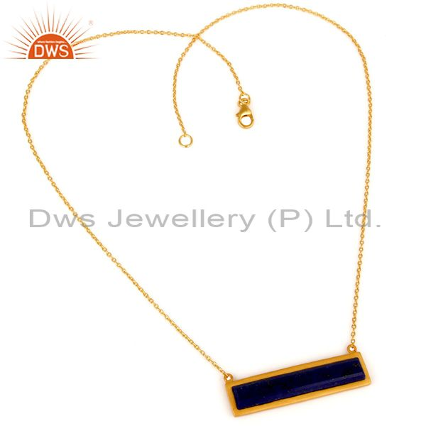 Suppliers Yellow Gold Plated Flat Cut Lapis Lazuli Sterling Silver Necklace