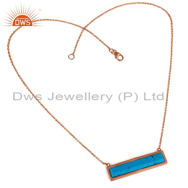 Suppliers Rose Gold Plated Turquoise Sterling Silver Pendant Necklace