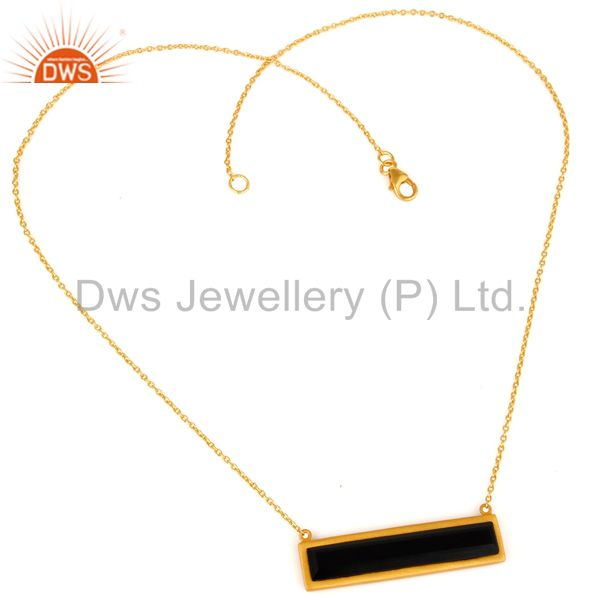 Suppliers 18K Yellow Gold Plated Black Onyx Sterling Silver Flat Pendant Necklace