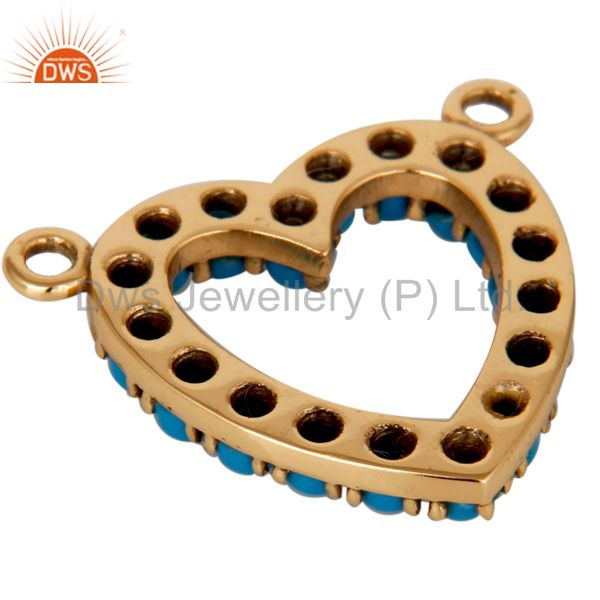 Suppliers 9K Solid Gold and Turquoise Heart Shape Connector Pendant Necklace Gold Jewelry