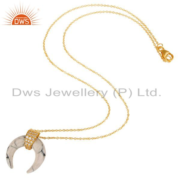 Suppliers White Howlit Crescent Moon Sterling Silver Yellow Gold Plated Pendant Jewelry