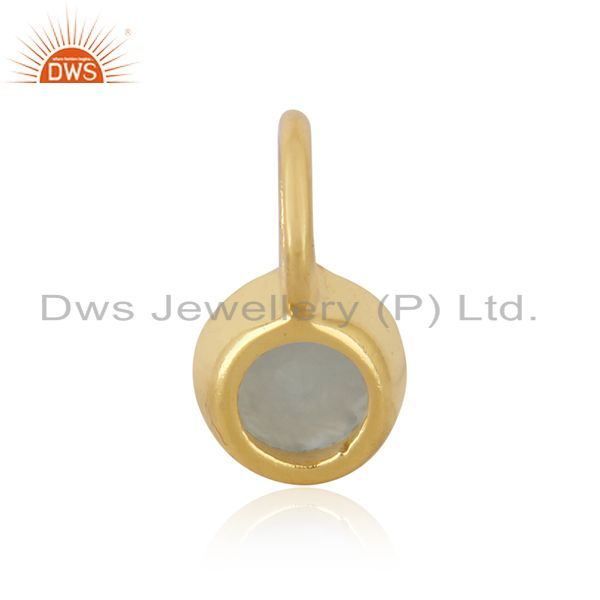 Suppliers 14K Yellow Gold Plated 925 Sterling Silver Dyed Chalcedony Connector Pendant