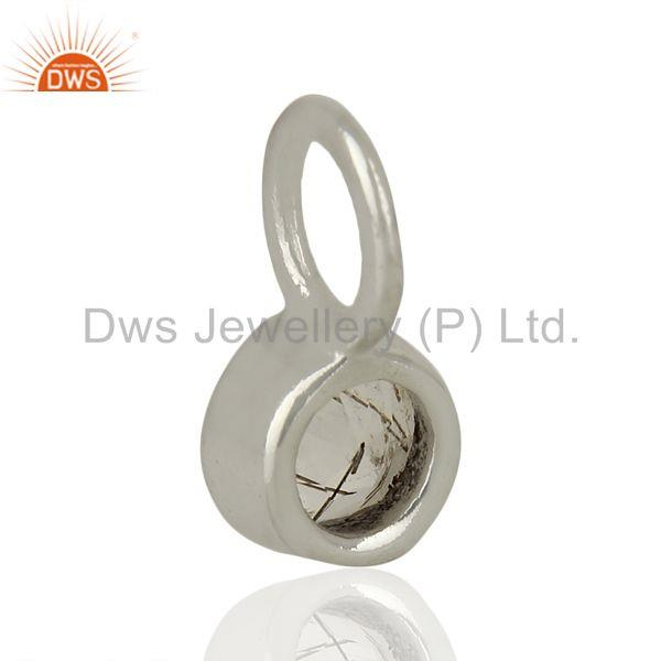 Suppliers Black Rutile Sterling Silver Silver Plated Connector Pendant Gemstone Jewelry