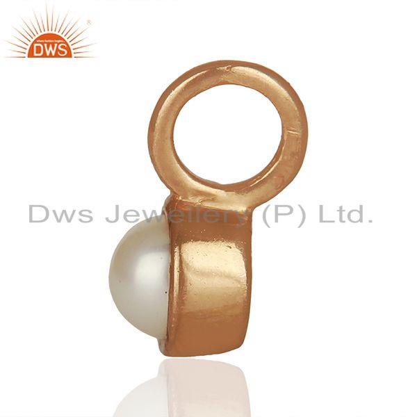 Suppliers Natural Pearl Rose Gold Plated 925 Sterling Silver Pendant Supplier