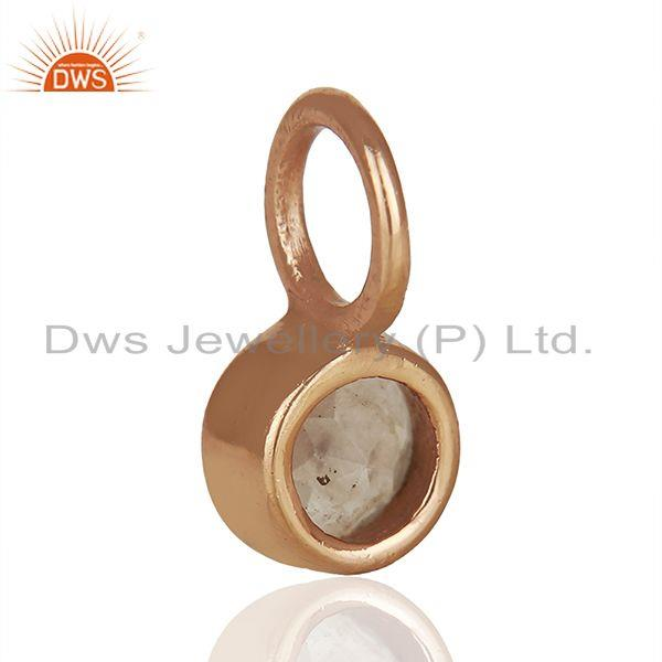 Suppliers Rose Quartz Gemstone Rose Gold Plated 925 Silver Pendant Manufacturer